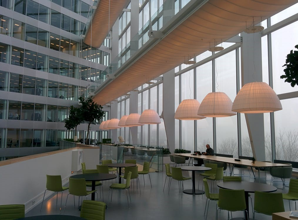 A modern interior space of a commercial building with a metal structure.
